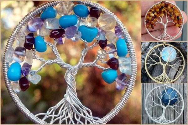 Kézműves drótékszerek: ásványgyöngyökkel díszített életfa medálok