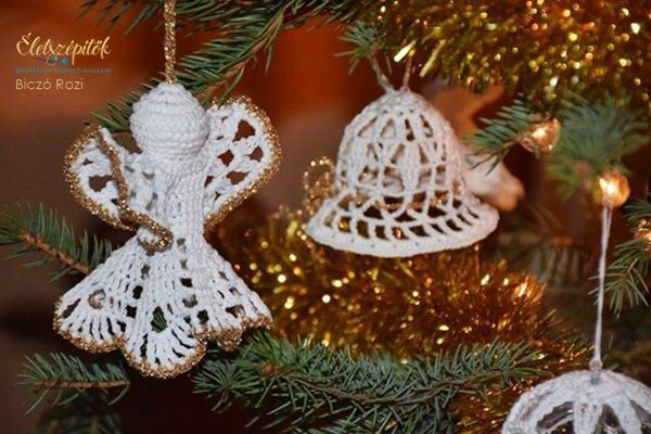 Horgolt karácsonyfadísz