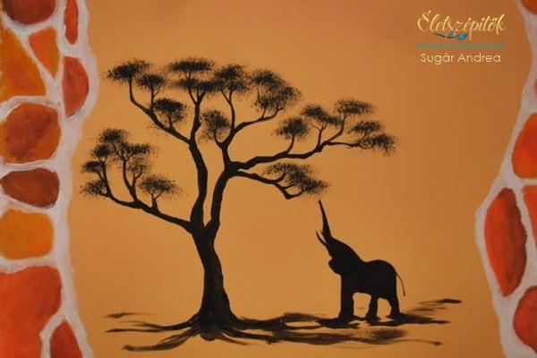Szafari stílus falfestmény