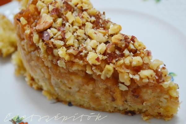 Almás-diós zabpelyhes szelet tortaformában
