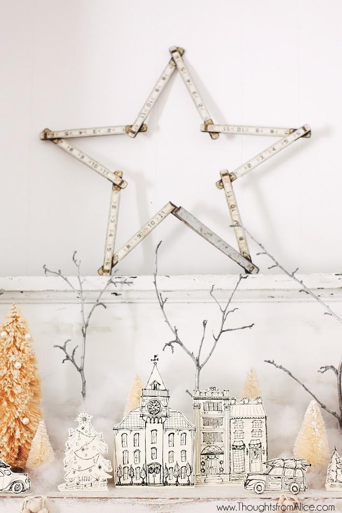 white-christmas-village-on-mantel