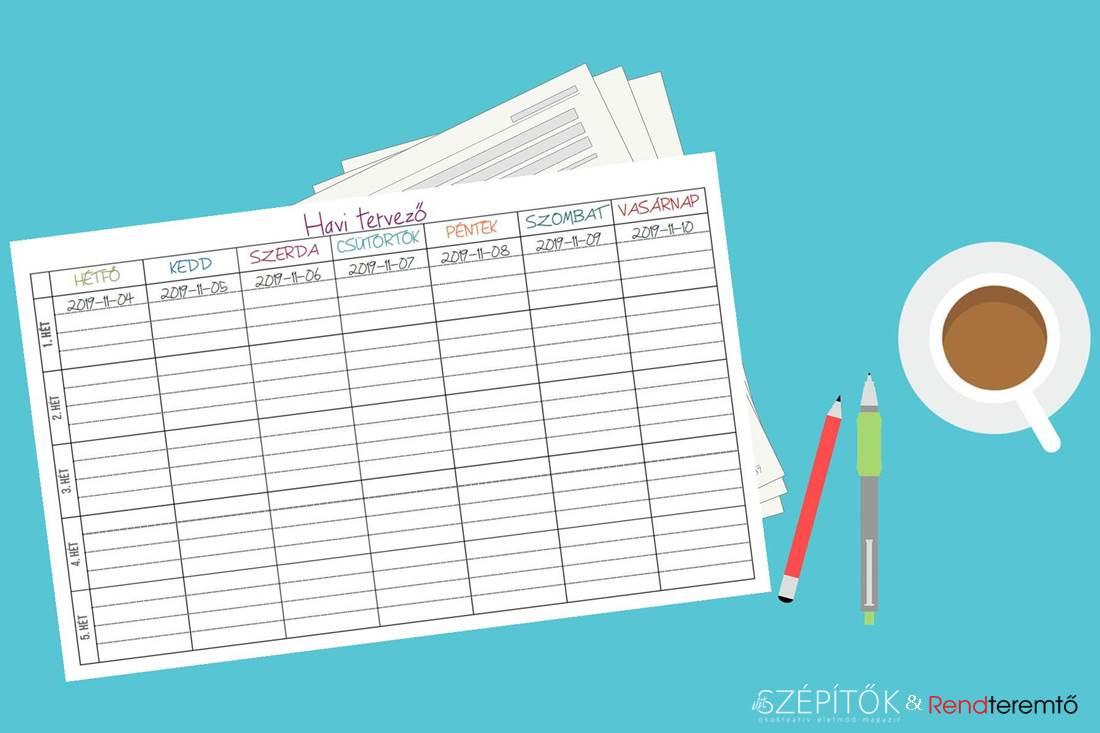 nyomtatható havi fogyókúrás naptár